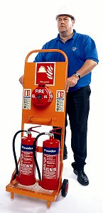 Mobile multi-purpose trolley with fire alarm, fire safety signs, fire extinguishers